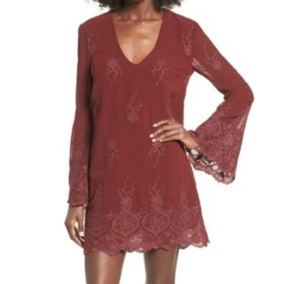 Wayf Halifax Embroidered Bell Sleeve Shift Dress